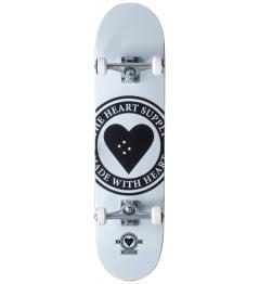 """Skateboard Heart Supply Logo 8"""" Badge White"""