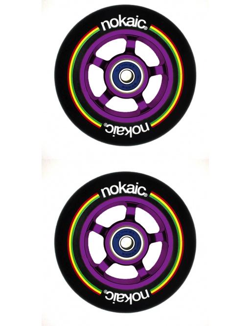 Kolečka Nokaic 100mm BLACK/PURPLE 2ks