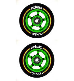 Kolečka Nokaic 100mm BLACK/GREEN 2ks