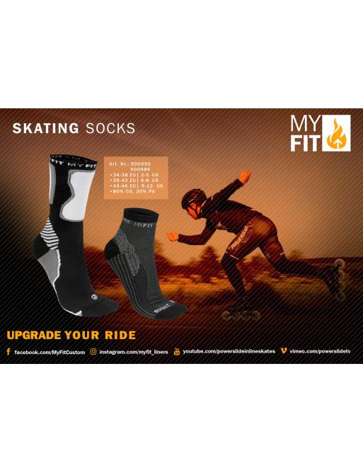 Ponožky Powerslide MY FIT Skating Socks Black