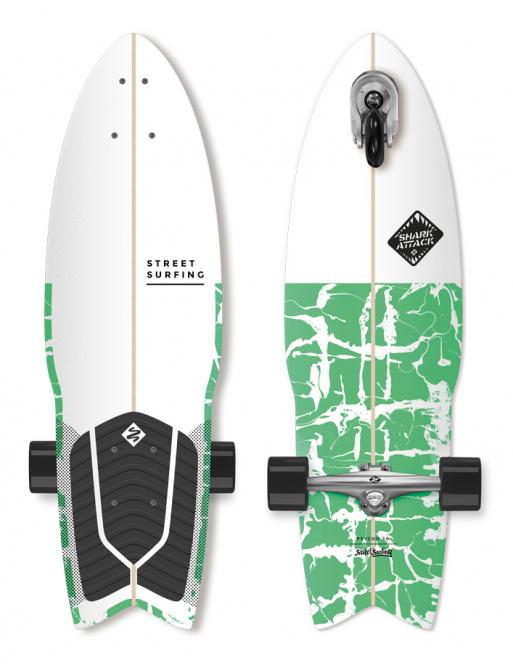 """Longboard Street Surfing SHARK ATTACK 30"""" Psycho Green"""